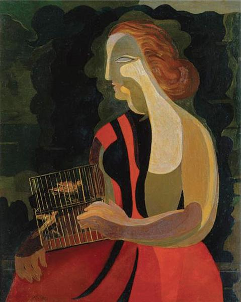 Woman with birds - Ekster Aleksandra