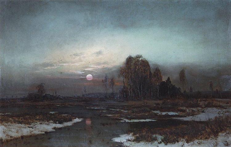 Осенний пейзаж с заболоченной рекой при луне, 1871 - Алексей Саврасов