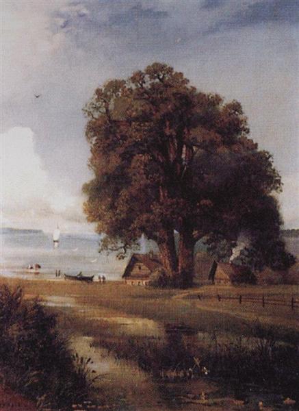 Landscape with a farm near Lake, 1880 - c.1890 - Aleksey Savrasov