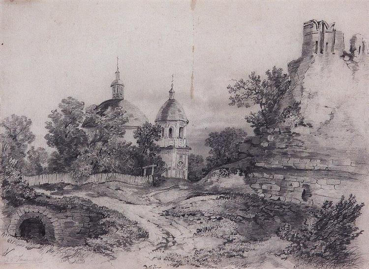 Landscape with Church and the ruins, 1861 - Aleksey Savrasov