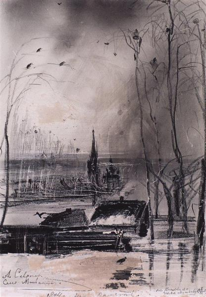 Rooksarrived.LandscapewithChurch, 1894 - Aleksey Savrasov