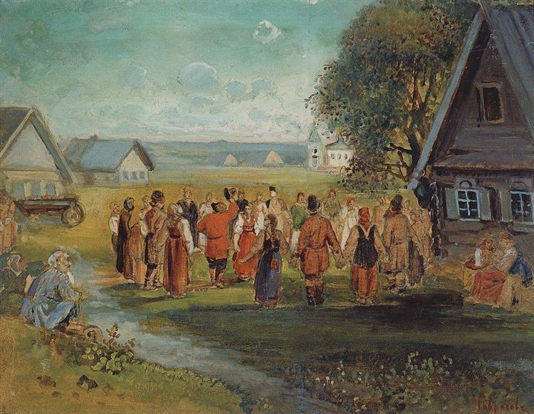 Round dance in the village, 1873 - 1874 - Alexeï Savrassov