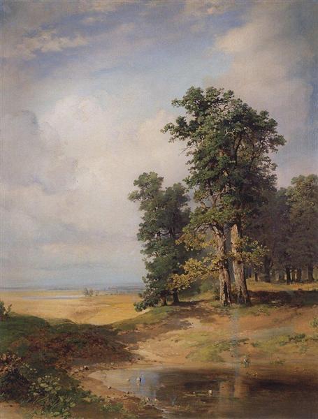 Summer landscape with oaks, 1850 - Aleksey Savrasov