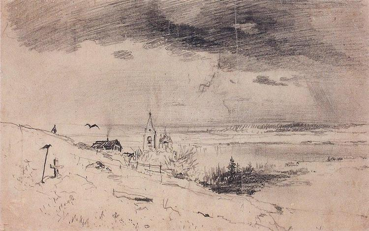 The old churchyard on the banks of the Volga, 1874 - Aleksey Savrasov