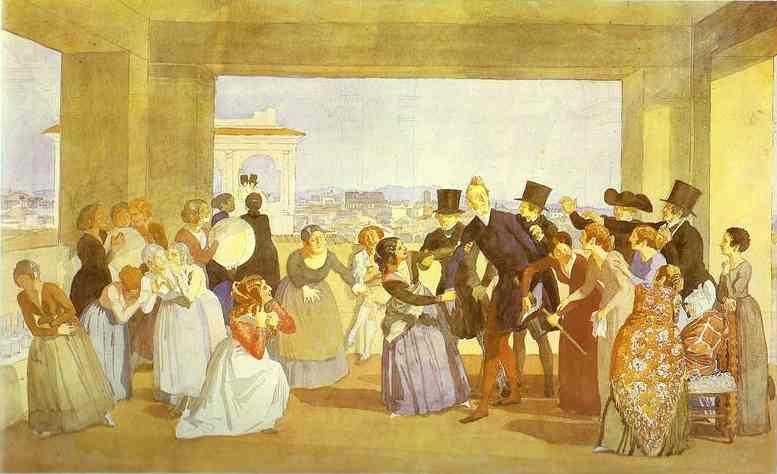 Festival in Rome in October. Scene in the Loggia (Asking to Dance), 1842