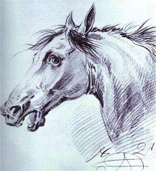 Head of a Horse, 1821 - Олександр Орловський