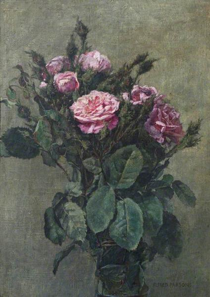 A Bunch of London Market Garden Moss Roses - Alfred Parsons