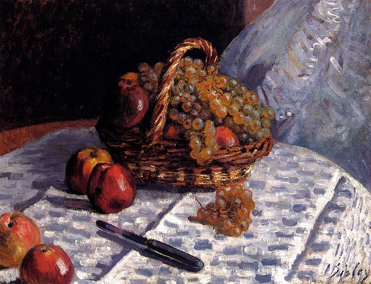 Apples and Grapes in a Basket, 1876 - Alfred Sisley
