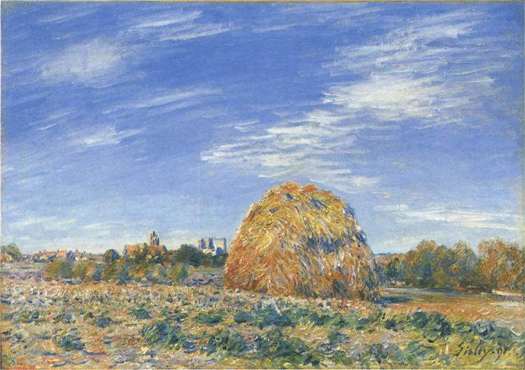 Haystacks in Moret in October, 1890 - Alfred Sisley
