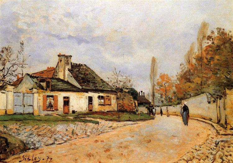 Neighborhood Street in Louveciennes (Rue de Village (Voisins to Louveciennes)), 1872 - Alfred Sisley