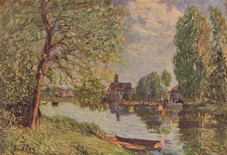 River Landscape by Moret sur Loing, c.1890 - Alfred Sisley
