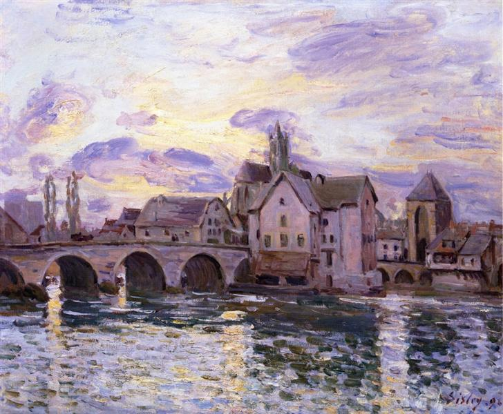 The Bridge at Moret at Sunset, 1892 - Альфред Сислей