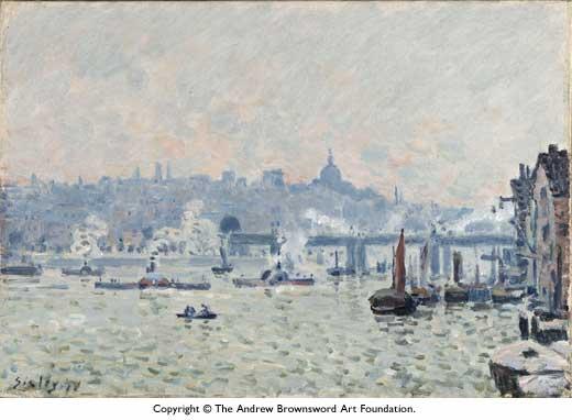 View of the Thames Charing Cross Bridge, 1874 - Альфред Сіслей