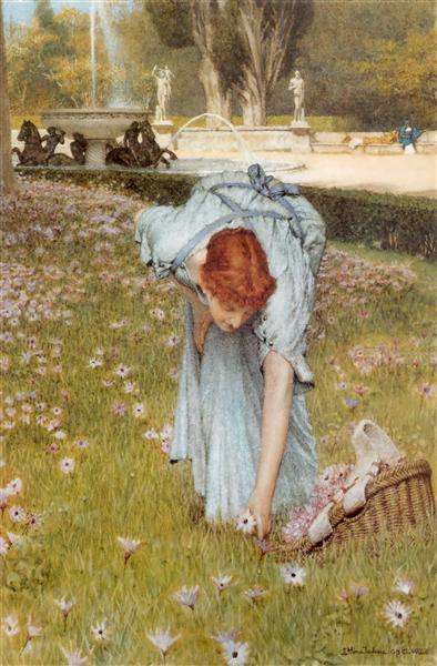 Flora Spring in the Gardens of the Villa Borghese, 1877 - Sir Lawrence Alma-Tadema