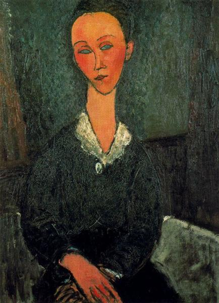 A woman with white collar, 1916 - Amedeo Modigliani