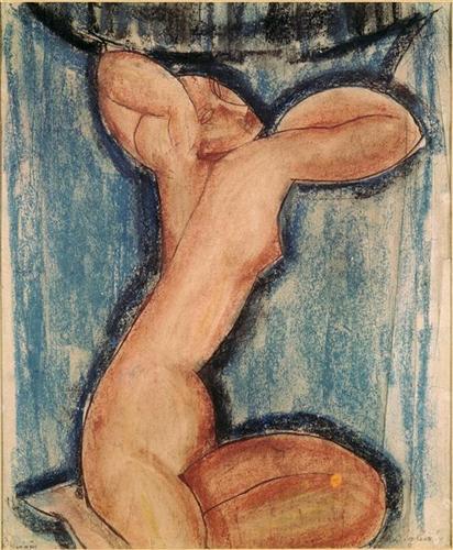 Amedeo Modigliani, Caryatid, pastel, ...