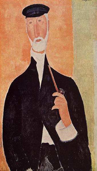 Man with a Pipe (The Notary of Nice), 1918 - Amedeo Modigliani