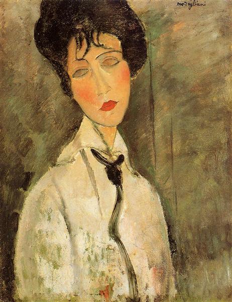 Portrait of a Woman in a Black Tie, 1917 - Amedeo Modigliani