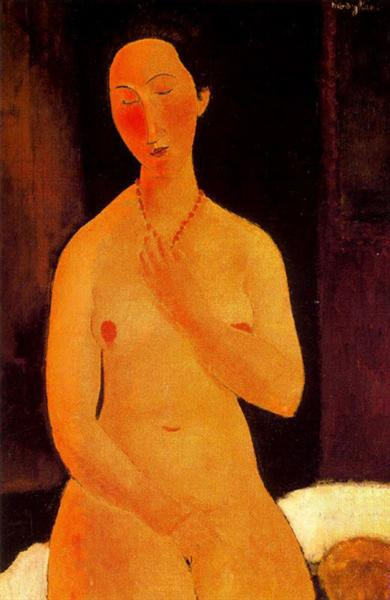 Seated nude with Necklace, 1917 - Amedeo Modigliani