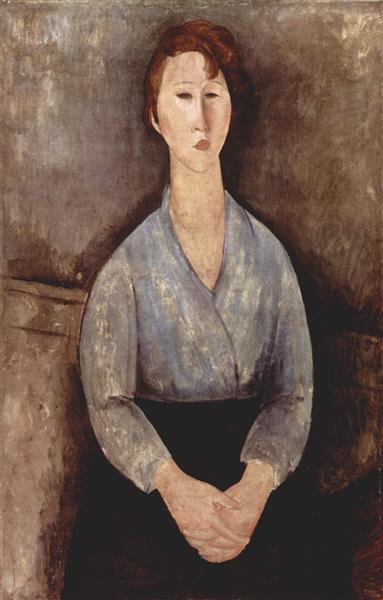 Seated woman weared in blue blouse, 1919 - Amedeo Modigliani