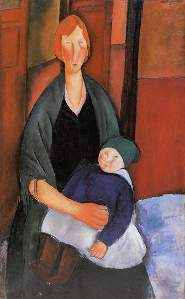 Seated Woman with Child (Motherhood), 1919 - Amedeo Modigliani