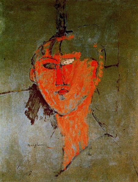 The Red Head, c.1915 - Amedeo Modigliani