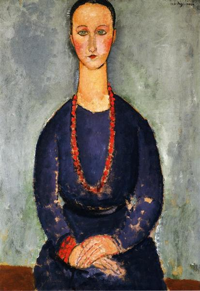 Woman with a Red Necklace, 1918 - Amedeo Modigliani