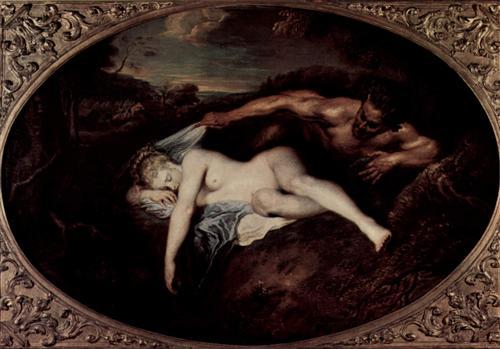 Nymph and Satyr, or Jupiter and Antiope - Antoine Watteau