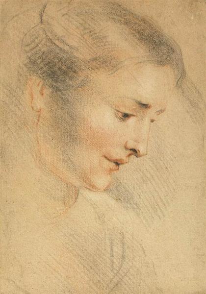 Study of a Woman's Head, c.1710 - Antoine Watteau