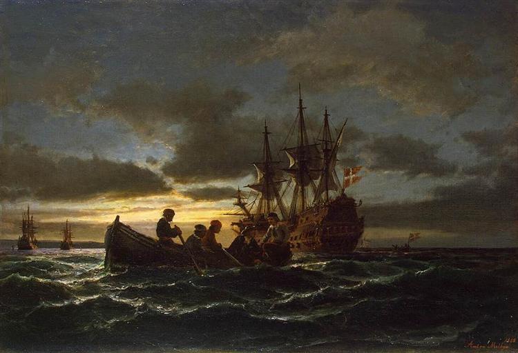 Sea at Night, 1865 - Anton Melbye