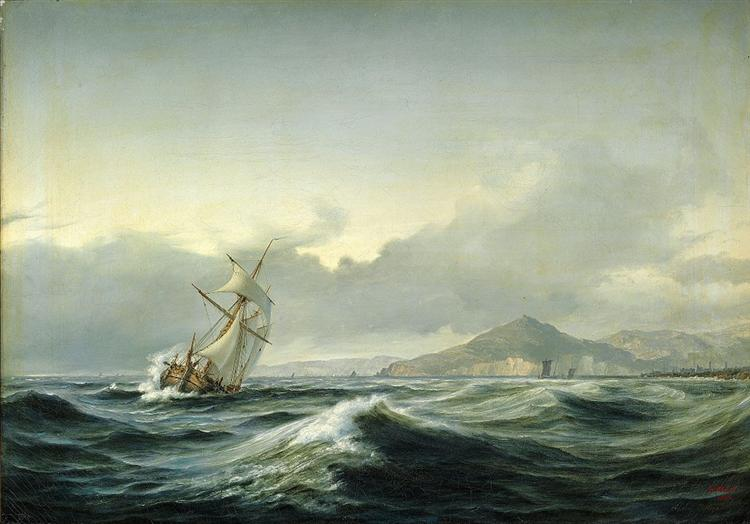 Seascape with sailing ship in rough sea, 1844 - Anton Melbye