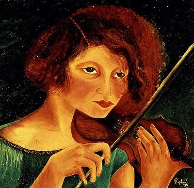 Self-portrait with violin, 1928 - Antonietta Raphael