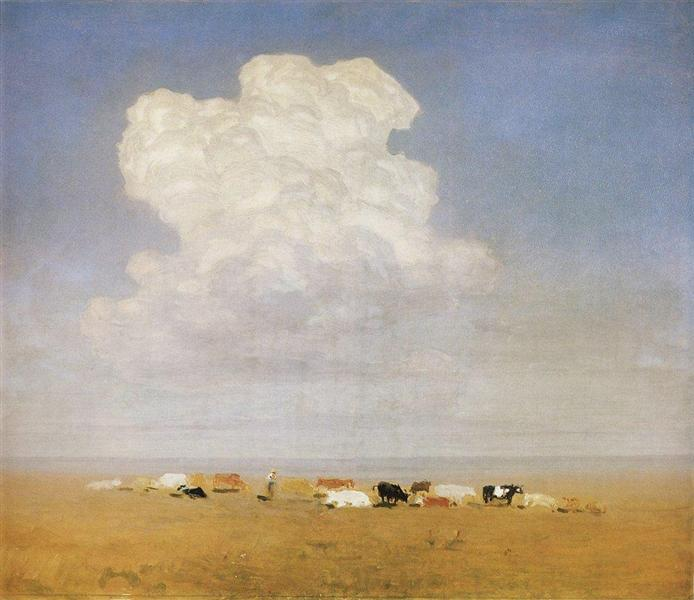 Noon. Herd in the steppe, c.1895 - Arkhip Kuindzhi