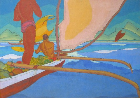 Men in an Outrigger Canoe Headed for Shore - Arman Manookian
