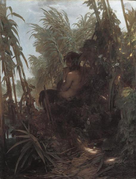 Pan among the reeds, 1858 - Arnold Böcklin