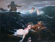 Playing in the Waves - Arnold Böcklin