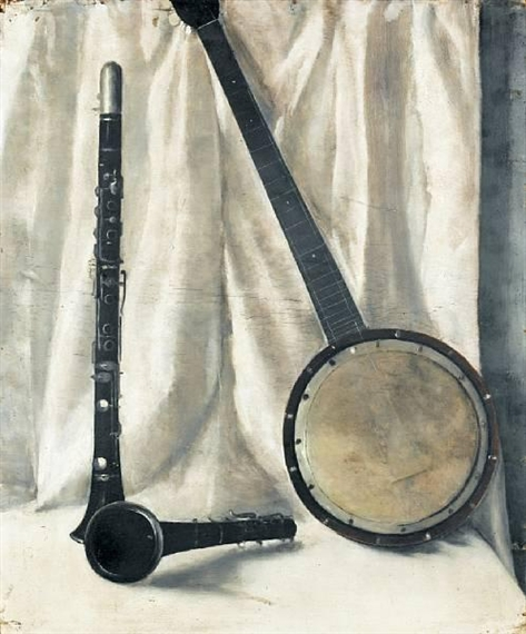 Still life with banjo and clarinette - Arthur Segal