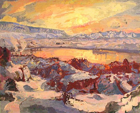 Winter Sun in Hafnarfjörður, 1930 - Asgrimur Jonsson