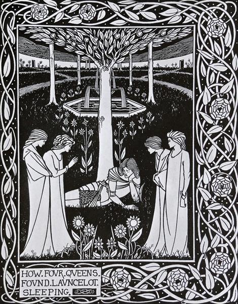 How Four Queens found Launcelot Sleeping - Aubrey Beardsley