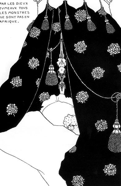 Portrait of himself in bed - Aubrey Beardsley