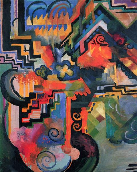 Colored composition (Hommage to Johann Sebastian Bachh), 1912 - August Macke