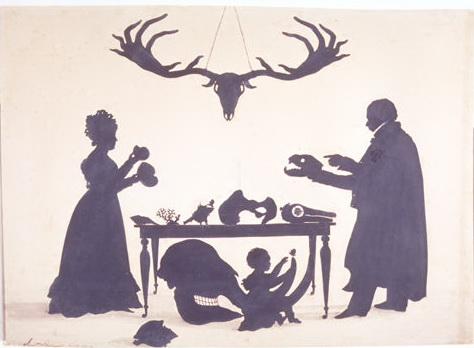 William Buckland and his Wife and Son Frank, Examining Buckland's Natural History Collection, 1829 - Auguste Edouart