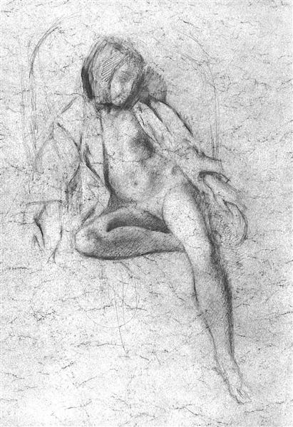 """Study for the painting """"Nude Resting"""", 1972 - Balthus"""