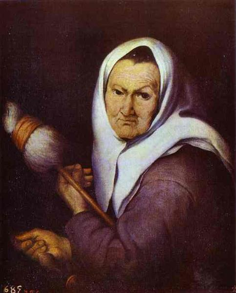 Old Woman with Distaff - Bartolome Esteban Murillo