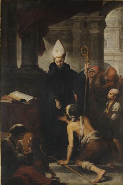 Thomas of Villanova giving alms to the poors, 1678 - Bartolome Esteban Murillo