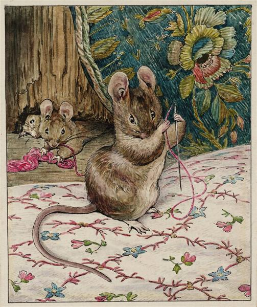 The Mice at Work.Threading the Needle, 1902 - Беатріс Поттер