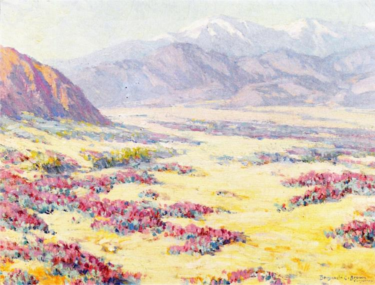 California Desert Wildflowers with Mountains Beyond - Benjamin Brown