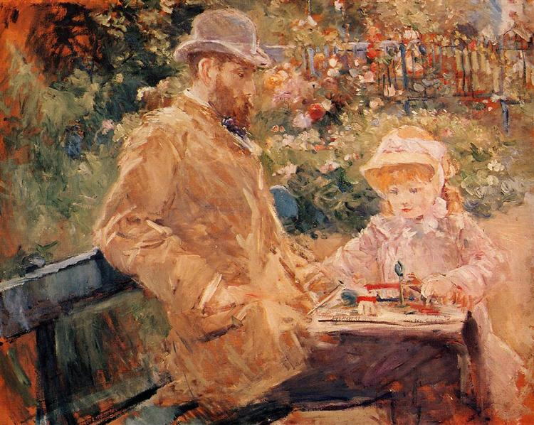 Eugene Manet with his daughter at Bougival, c.1881 - Berthe Morisot