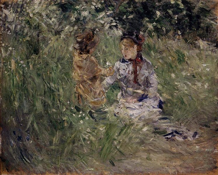 Julie with Pasie in the Garden at Bougival, 1881 - Berthe Morisot