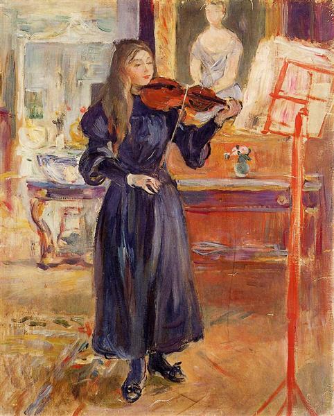 Studying the Violin, 1892 - 1893 - Berthe Morisot